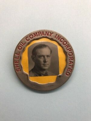 Old Shell Oil Co. Metal Photo Badge & ID Card RARE!!