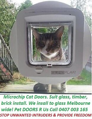 New WHITE SureFlap Microchip Cat Flap Pet Door. Keep out unwanted cats. No Power