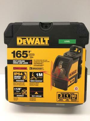 New DeWALT Cross Line Laser Self Leveling Level L-Bracket Red 165' Range + Case