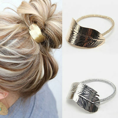 2Pcs Fashion Women Leaf Hair Band Rope Headband Lady Elastic Ponytail Holder New