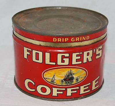 Vintage Folger's Coffee Tin Can 1931 Golden Gate Brand 1 Lb Size w/Correct Lid