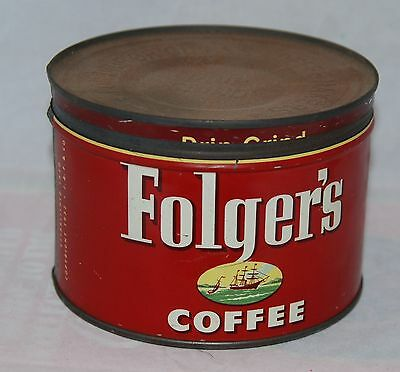 Vintage Folger's Coffee Tin Can 1952 1 Lb Size with Correct Lid