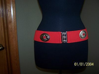 Square Dance Belt Red With Silver Conch