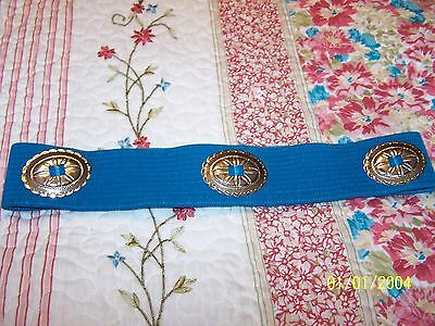 Blue Square Dance Belt with Silver Conch