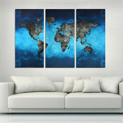Modern 3 Panel Canvas World Map Art Wall Painting Hang Home Prints Decor Picture