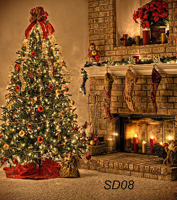 Christmas Gifts fireplace Studio Backdrop Photography Prop Background 5X7FT SD08