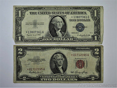 1935-G $1 Silver Certificate Dollar Bill & 1953 $2 Dollar Star Note Red |7987