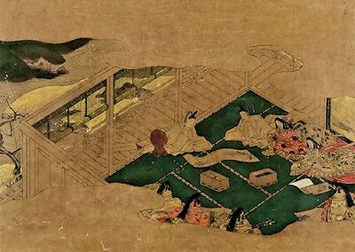 Signed Old Antique The Tale of Genji ? Tosa ? Japanese Painting EDO