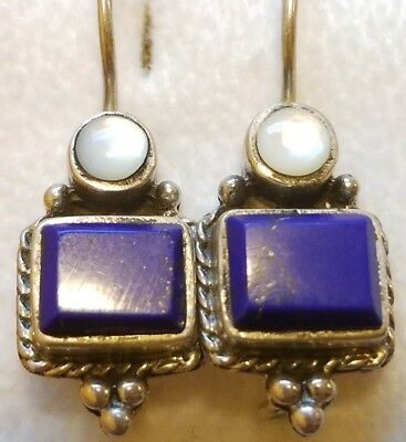 Nelvin Chee Navajo Sterling Silver Lapis Lazuli & Mother of Pearl Earrings