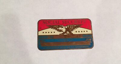 Metal Social Security Card Blank-Red, White, Blue And Eagle