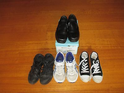 4 Pairs of Boys Shoes Including New Balance, Asics and Formal Shoes - Size 2