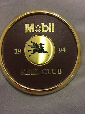 Mobil Oil Pegasus Brass and Leather Coaster 1994 KEEL CLUB