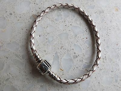 Pandora metallic silver Leather and Sterling Silver bracelet - size 16.5cm