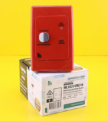 Clipsal ML2031VRC10  RCD Protected Safety Switch 250Vac 20A 10mA 2P Vertical Red