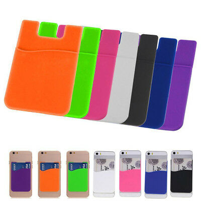 2x Rubber Silicone Card Wallet Holder Sleeve Stick Adhesive Case for iPhone HTC
