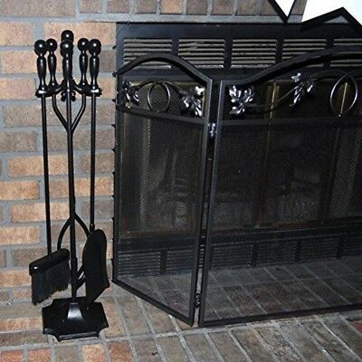 Fireplace Tools Set Wood Stove Log Tongs Holder Handles Sturdy Stand Decor 5 Pc