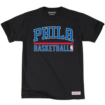 Philadelphia 76ers Mitchell & Ness NBA Stacked T-Shirt - Black