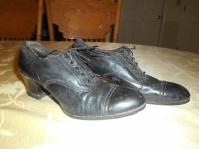 Antique Brogue Shoes Block Heels Lace Up Vintage Black Oxford Dress Shoes