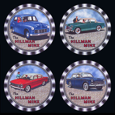4  x  HILLMAN MINX MOTORCARS CARS DIFFERENT MODELS ADVERTISING DRINK COASTERS -