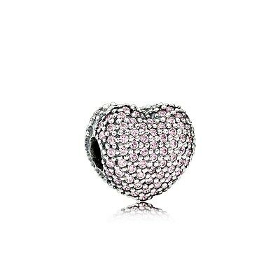 Genuine Pandora Sterling Silver Open My Heart Pink CZ Pave Clip 791427PCZ