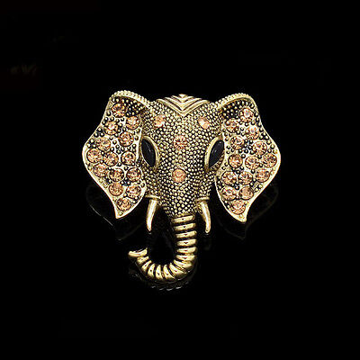 Beautiful Vintage Inspired Antique Gold Plated Gold Crystal Elephant Brooch