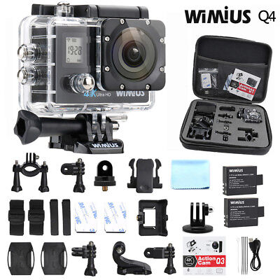 4K WIFI Action Camera WIMIUS Dual Screen Waterproof Sports Camera 16MP +DV bag