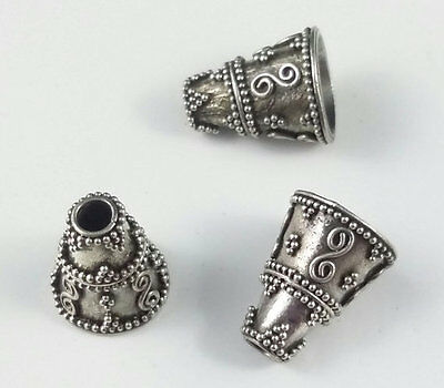 4 x Bali Antiqued Sterling Silver Oxidized Decorative Cones 14mm x 8mm Caps  (7)