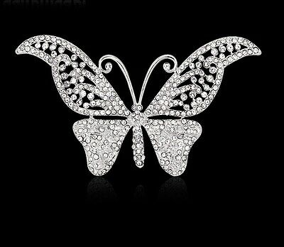 Beautiful Silver Plated Crystal Butterfly Vintage Inspired Statement Brooch
