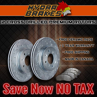 FITS 2009 2010 2011 2012 TOYOTA VENZA Drilled Brake Rotors CERAMIC FRONT SILVER