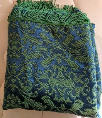 Vintage_70's, Green & Blue, Damask, Jacquard, Retro Bedspread_ Double