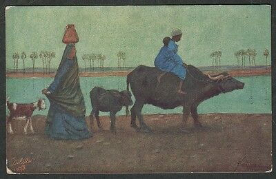 e157)     TUCK HUMOUR IN EGYPT COMIC/ART POSTCARD::  ON THE BANKS OF THE NILE