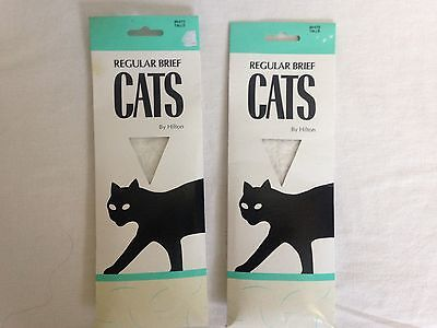 2 x Vintage pantyhose Cats by Hilton regular brief in White size Talls