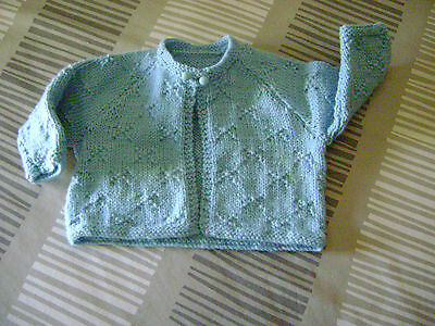 Hand Knitted Matinee Jacket  Pale Blue    Dk   8 Ply    3 - 6 Mths.