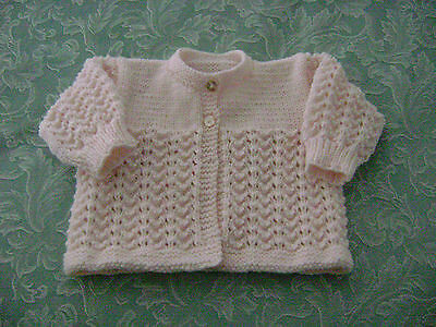 Hand Knitted Matinee Jacket  Pale Pink     Dk       3 - 6 Mths.