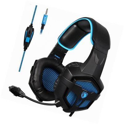 Gaming Headsets Headphones Xbox One PS4 Game Quality Stereo Sound Black/Blue New