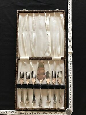 Silver Plated Cake Trowel and 6 Cake Forks