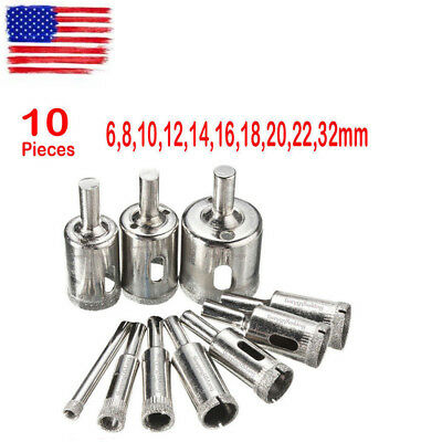 10 Diamond Holesaw Drill Bit Hole Saw Set For Cutter Glass Ceramic Marble 6-32mm