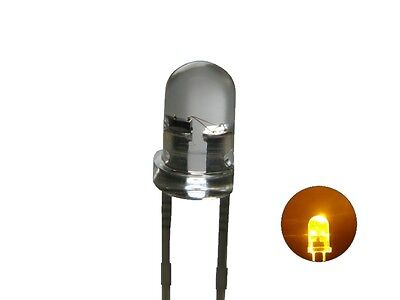 S125 - 20 Piece Flickering LEDs 3mm Yellow Clear Light For Campfire Spark Plugs