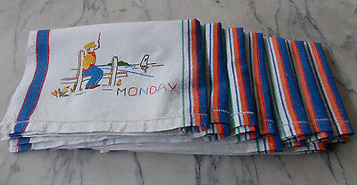 Vintage Set Days of Week Tea Towels Hand Embroidered on Linen Collectable x 7