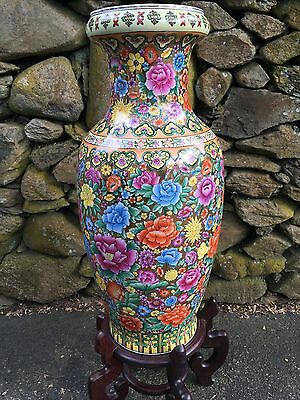 Asian Chinese Pottery Vase-Large-Flowers Colorful-Signed