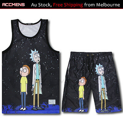 Rick And Morty Tank Top & Shorts Set Mens Summer Mesh Singlet Vest Beach Sports