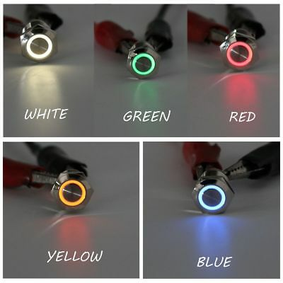 12V 12mm LED Power Push Button Switch Momentary Latching Waterproof Metal
