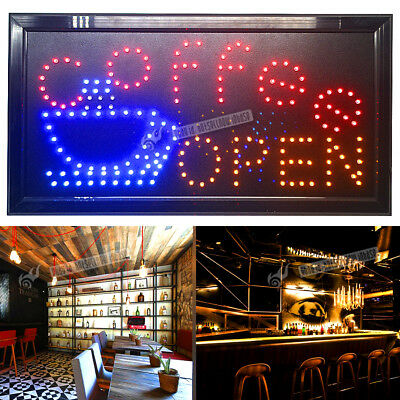 Flashing LED COFFEE/BAR OPEN Sign light pub Beer Bottle neon store Shop Display