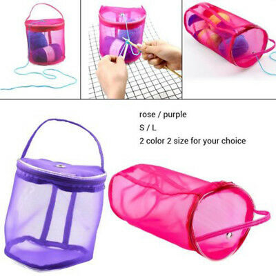 Knitting Mesh Yarn Bag Case Needle Crochet Hook Organizer Pouch Holder Tote S L
