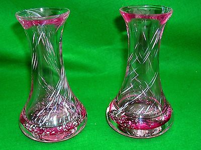 LANGHAM ? ART GLASS PAIR of SMALL VASES PINK SWIRLS COLOURWAYS HEAVY BASED 5""