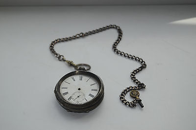 Antique Solid Silver Pocket Watch And Solid Silver Chain With Key