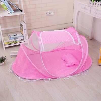 Baby Infant Portable Travel Cute Bed Crib Canopy Mosquito Net Tent&Mattress Pink