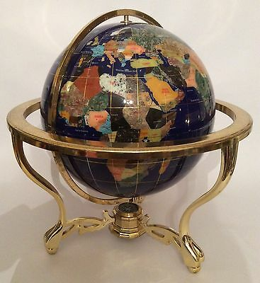 Large Vintage World Globe Brass and Mineral Stone