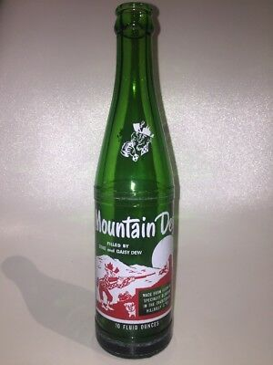 """Vintage """"RARE"""" Mountain Dew Bottle """"Filled By Zeke And Daisy Dew"""" 10oz Hillbilly"""