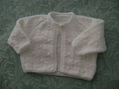 Hand Knitted Matinee Jacket  White    Dk   8 Ply    3 - 6 Mths.